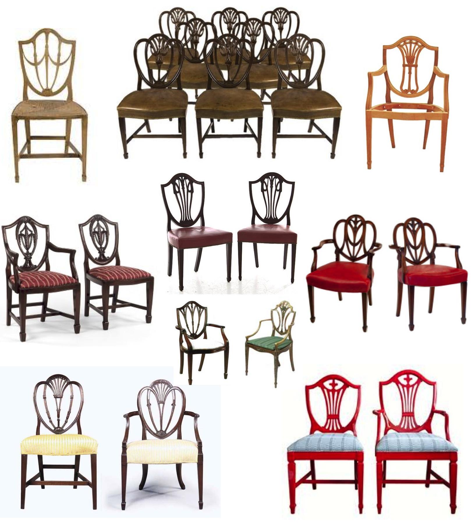 Mystery of design the elegant hepplewhite shield back for Chair back design names