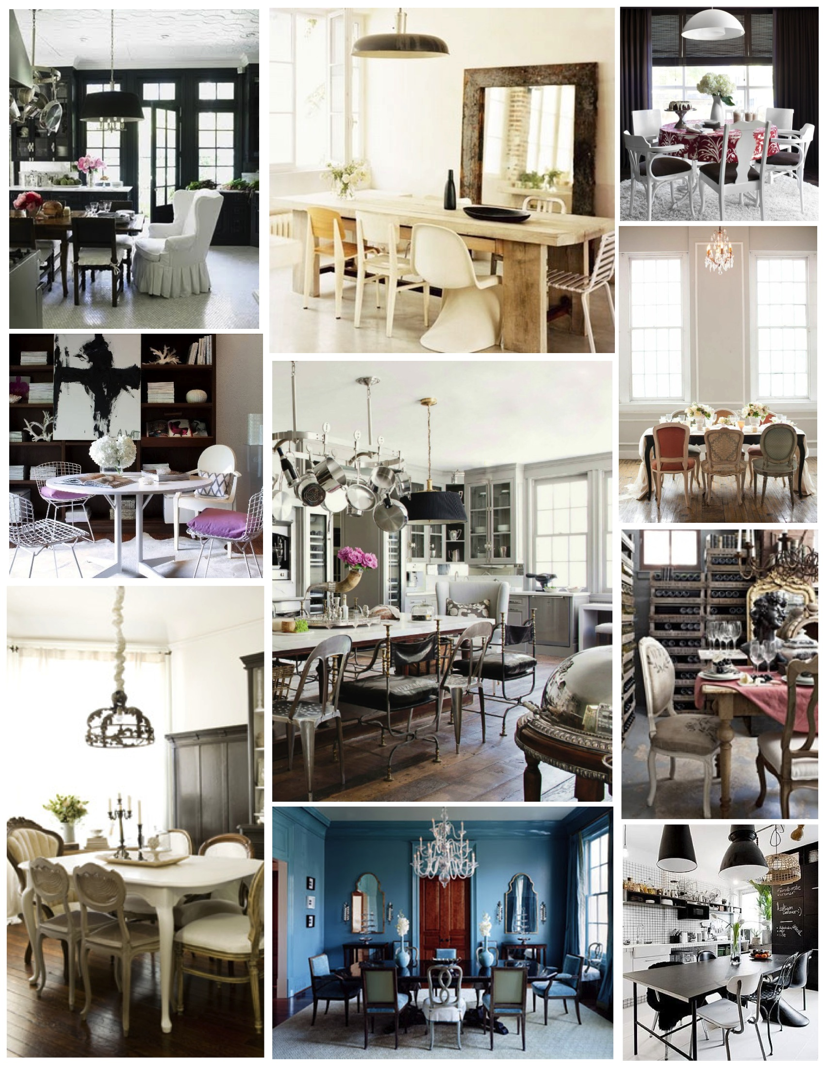 mismatched chairs: a dining arrangement of personal style | house