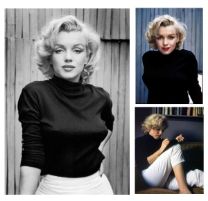 Style Icon:  Marilyn Monroe, Adorned In A Turtleneck Of Black