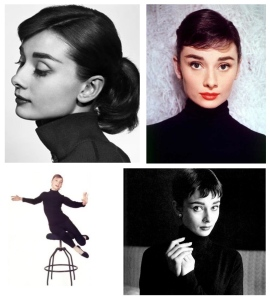 Style Icon:  Audrey Hepburn, Adorned In A Turtleneck Of Black