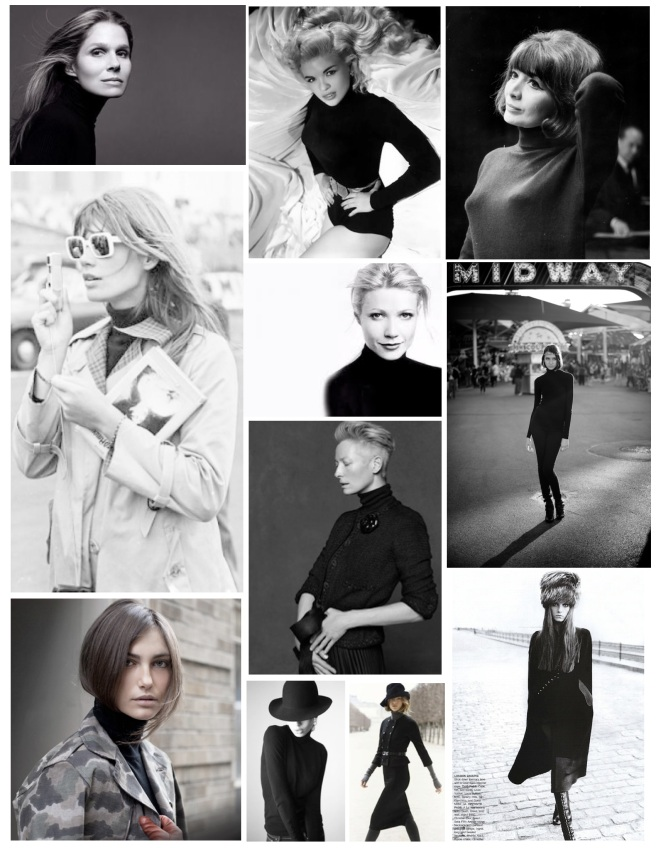 High Collared Pullover Style:  The Iconic Black Turtleneck