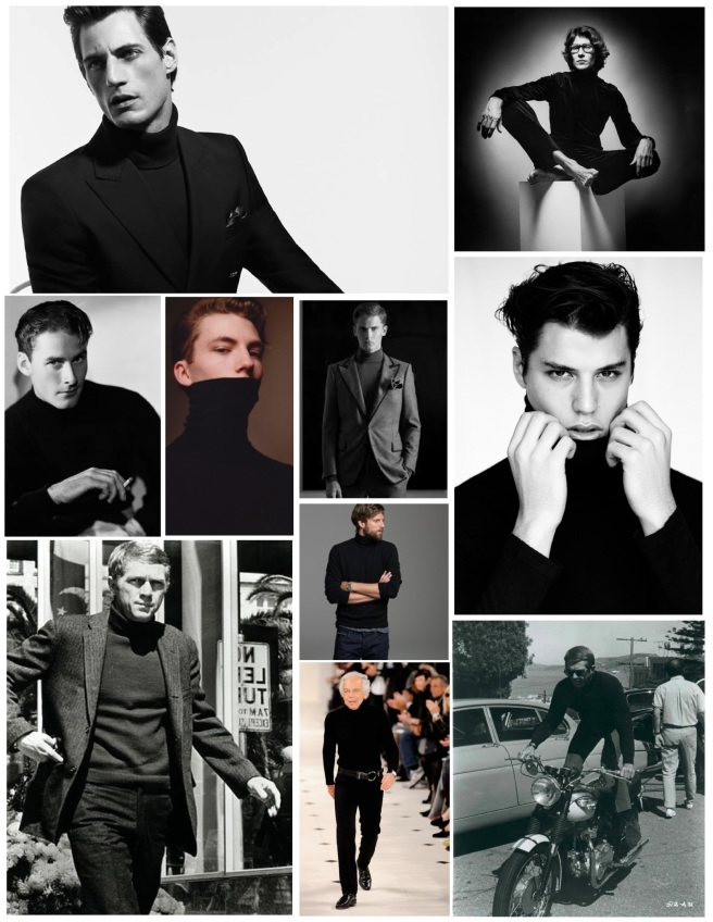The Powerful Allure And Masculine Edge:  Layered In A Black Turtleneck