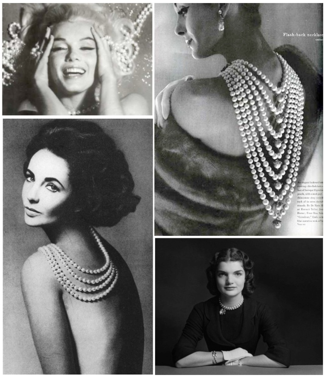 Classic Images Of Pearls:  Marilyn Monroe, Elizabeth Taylor & Jacqueline  Bouvier (Kennedy)