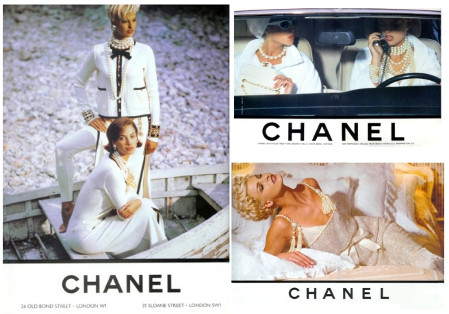 A 1990's Classic:  Linda Evangelista & Christy Turlington In Chanel Pearls