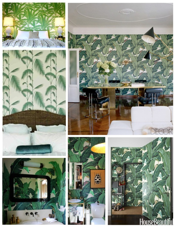 """Palms"" In Bold Wall Papered Statements Of Botanical Style"