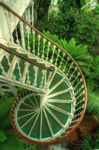Spiral Staircase Amidst Lush Green:  The Palm House
