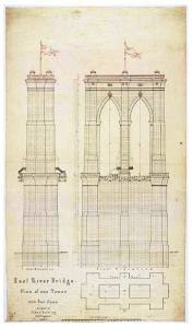 "The ""East River Bridge"" (Plan of one tower for the Brooklyn Bridge/1867)"