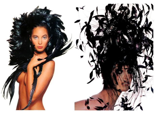 Fashion's Iconic Feathered Images:  Christy Turlington & Linda Evangelista