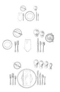 Emily Post's Table Setting Guides:  Basic, Informal & Formal
