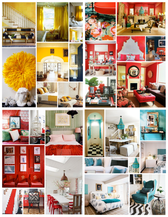 Interior Color Inspirations:  May/Warm Yellow, June/Refreshing Coral, July/Statement Red,  August/Tranquil Turquoise