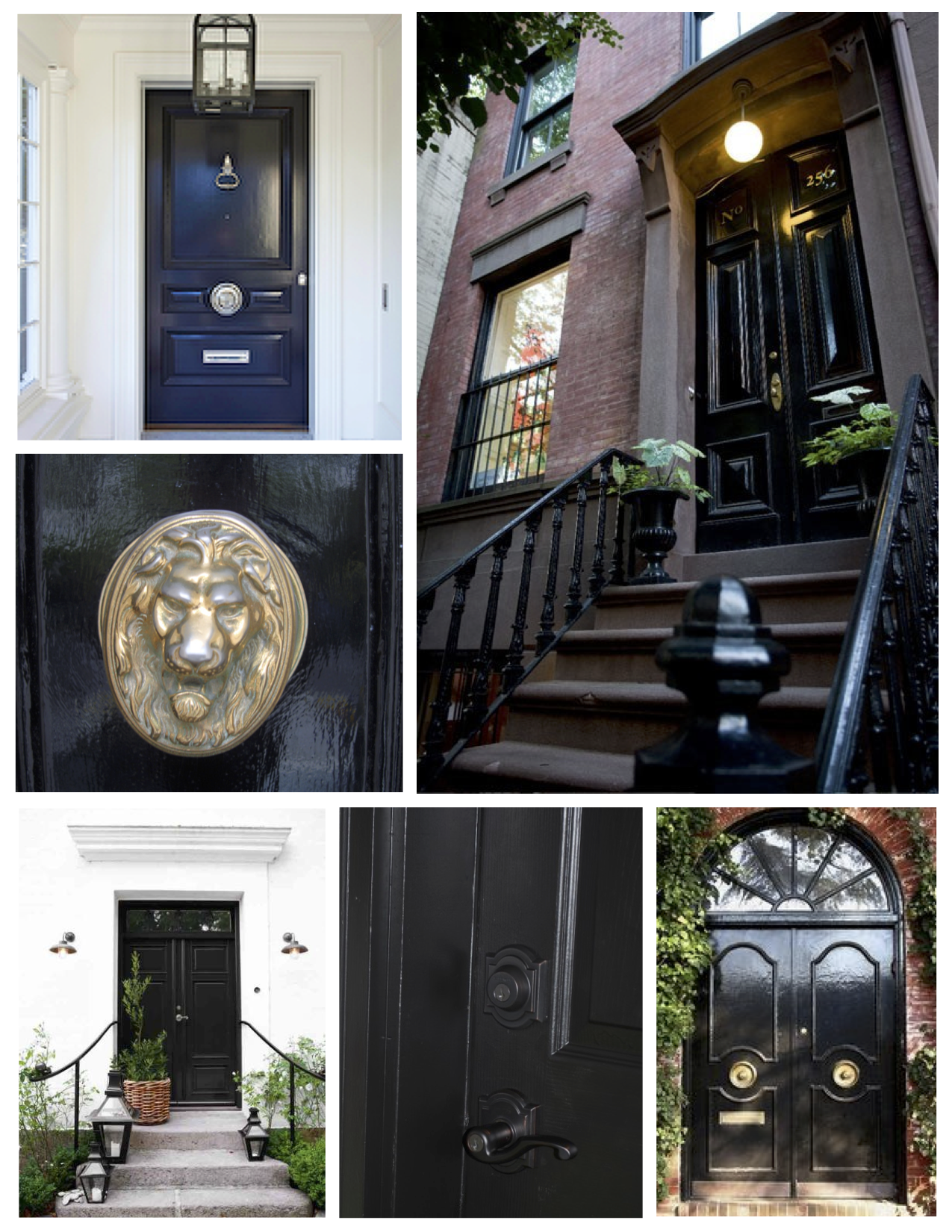 A Bold Coating Of Ebony: Embellished Black Painted Doors Classic Style:  Ebony Painted Exterior Doors