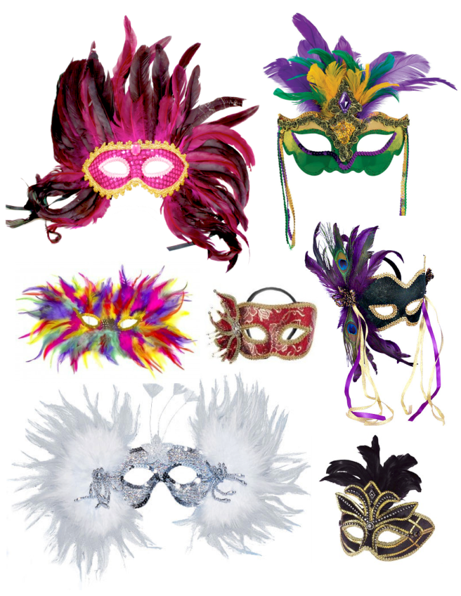 "Masks Of ""Mardi Gras"": Celebrations In Viviid Color & Feathered Delight"