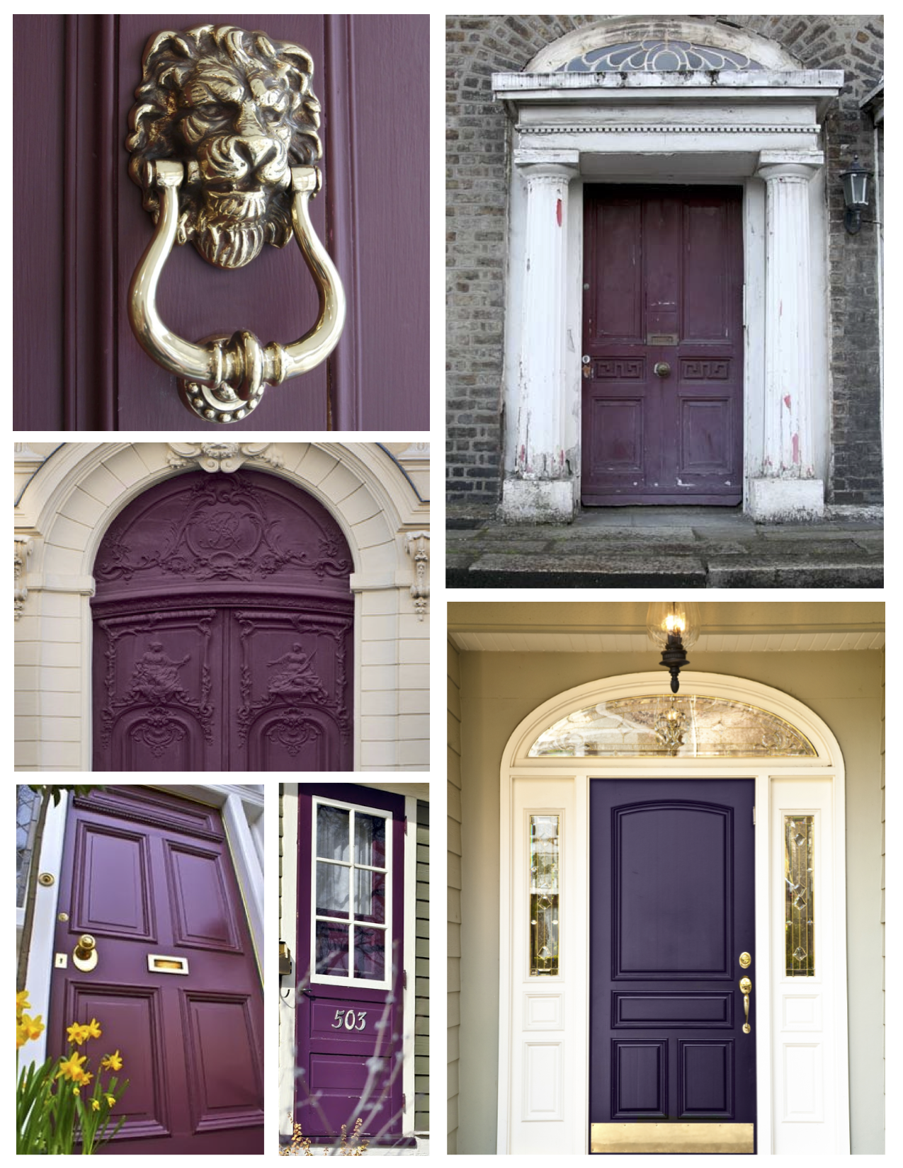 Exterior color inspirations the regal dramatic purple painted door house appeal - Painting exterior woodwork image ...