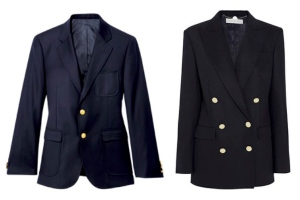 "Classic Tradition:  The Navy Blazer Embellished  With ""Gold"" Stylized Buttons:  Single & Double Breasted Options"