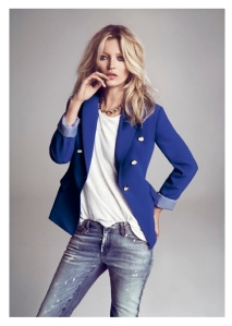 Variations Of Indelible Style:  The Cobalt Blue Jacket & Gold Buttons On Kate Moss