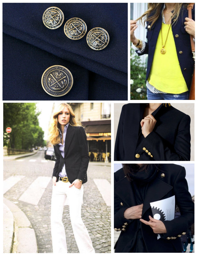 Blazers Of Tradition & Classic Design:  Timeless Navy & Gold Buttons of Style