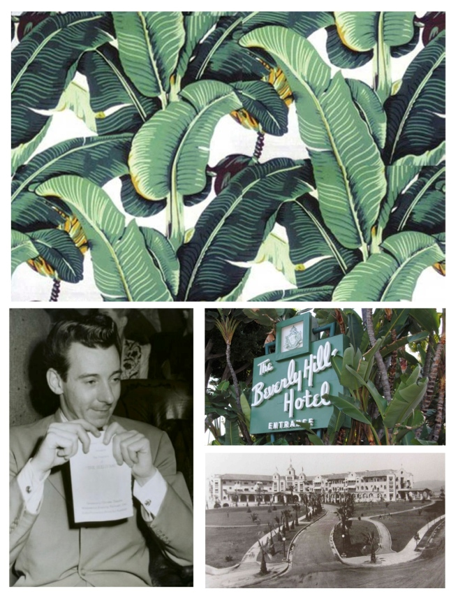 "Decorator Don Loper & His Original ""Martinique Banana Leaf Wallpaper""/Beverly Hills Hotel 1942"