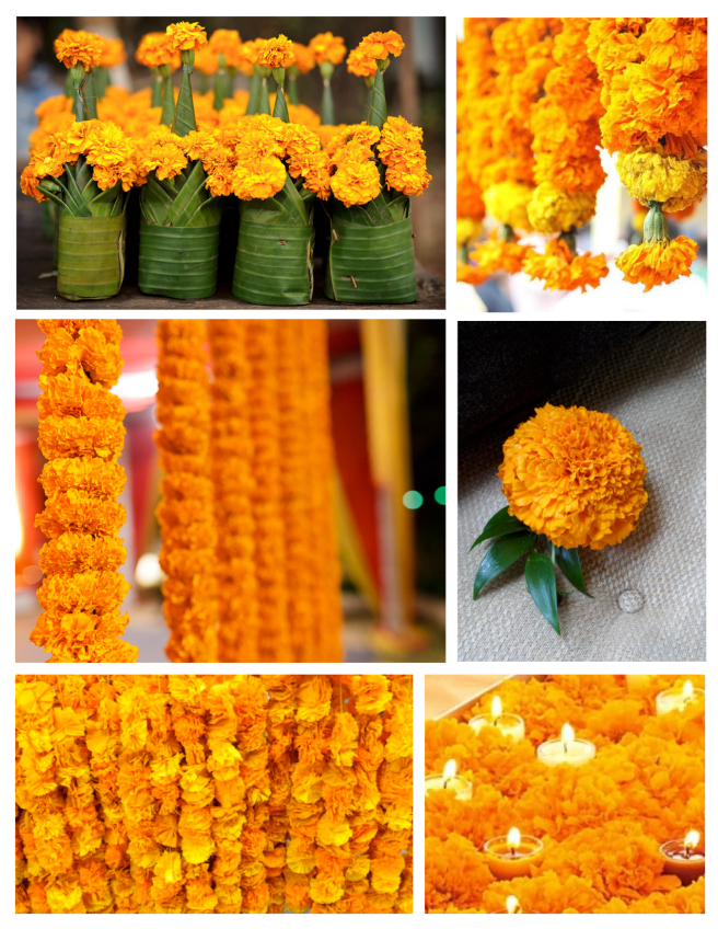 Brilliant Cheer:  Bright Garlands & Embellishments With Marigolds