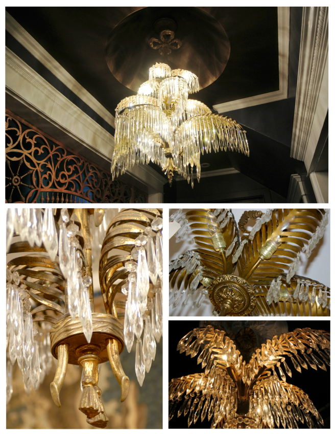 Tiered Palm Fronds Of Brass or Bronze Patina Dripping In Crystal