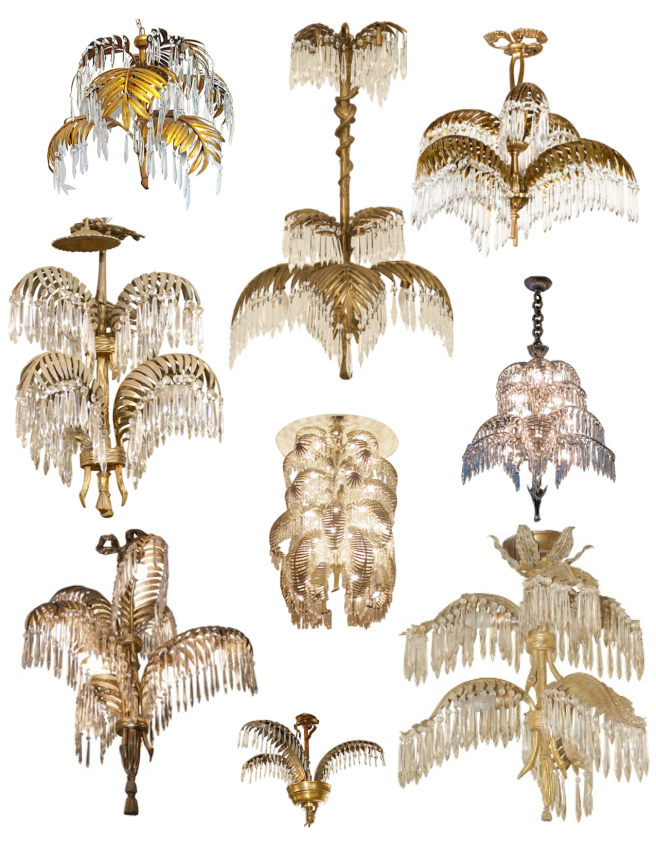Variations Of French Elegance:  Bronze & Brass Palm Frond Chandeliers