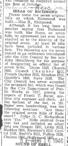"""Seven Hills"" Of Richmond/1946 Richmond Times Dispatch"