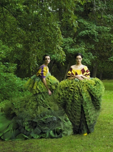 Fashioned By Nature:  Green Hues Of Natural Delight  (Photographed By Steven Meisel)