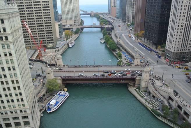 Viewpoint From Above Chicago River:  The Bridges Of Chicago & Lake Michigan