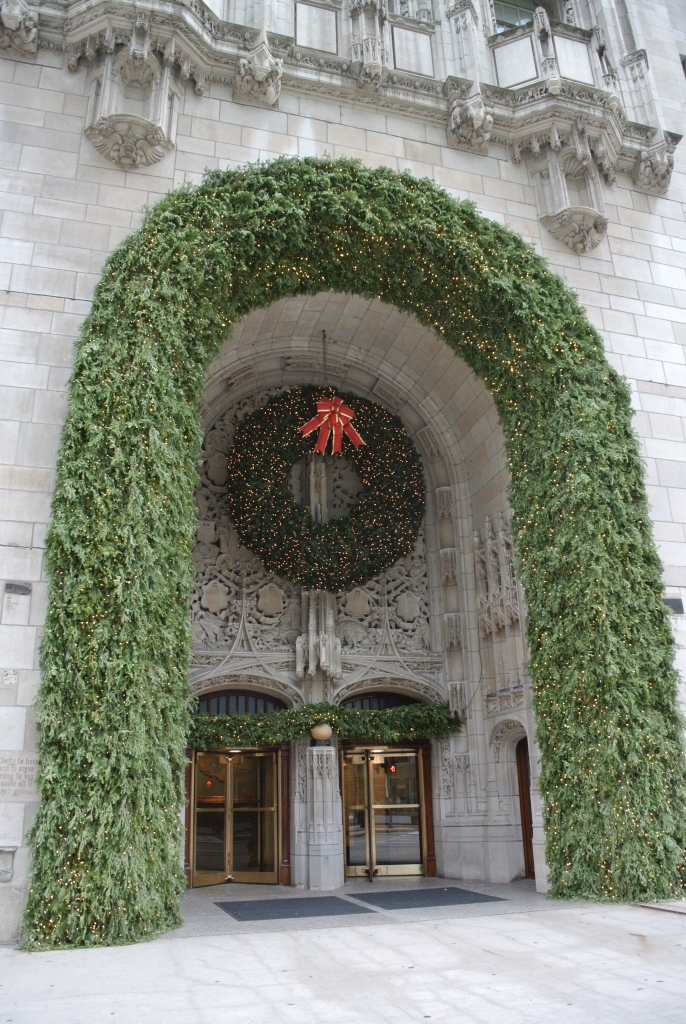 Bedecked With Holiday Greens & Lights:  The Chicago Tribune Building, Michigan Avenue